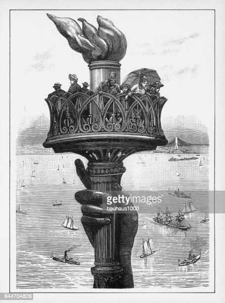 statue of liberty victorian engraving, 1878 - ellis island stock illustrations, clip art, cartoons, & icons