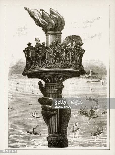 statue of liberty victorian engraving, 1878 - statue of liberty new york city stock illustrations, clip art, cartoons, & icons