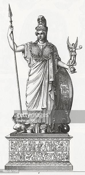 statue of pallas engraving - roman goddess stock illustrations