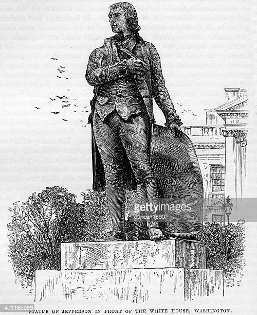 statue of president thomas jefferson - thomas jefferson stock illustrations, clip art, cartoons, & icons