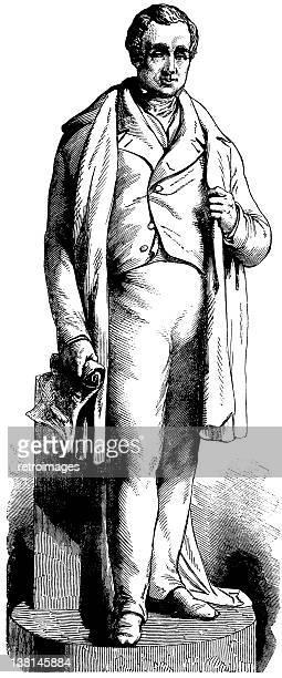 ilustraciones, imágenes clip art, dibujos animados e iconos de stock de estatua de ferrocarril de pioneer george stephenson el illustrated london noticias - ingeniero civil