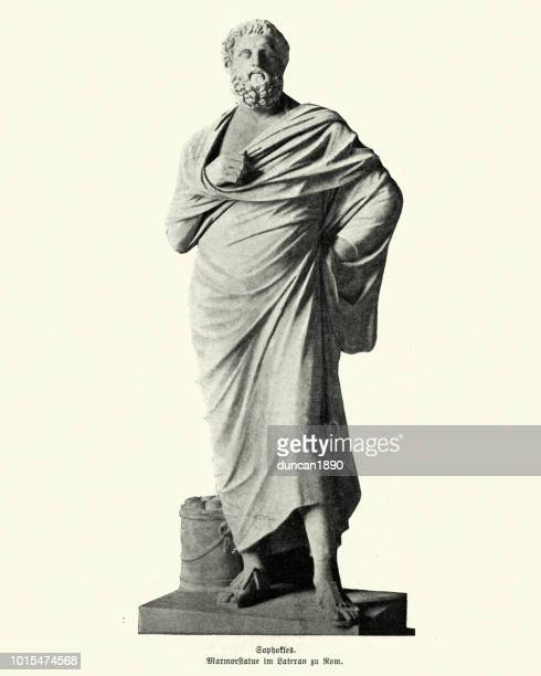 statue of sophocles - sophocles stock illustrations