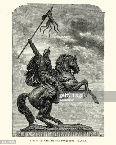 statue of william the conqueror - normandy stock illustrations, clip art, cartoons, & icons