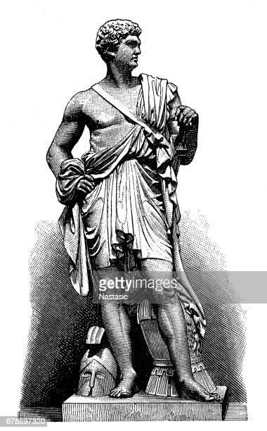 statue of włodzimierz potocki by bertel thorvaldsen - classical greek stock illustrations, clip art, cartoons, & icons