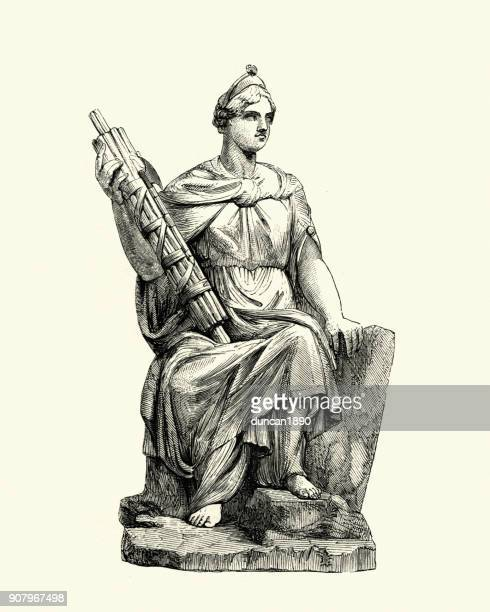 Statue representing law, figure holding a Fasces