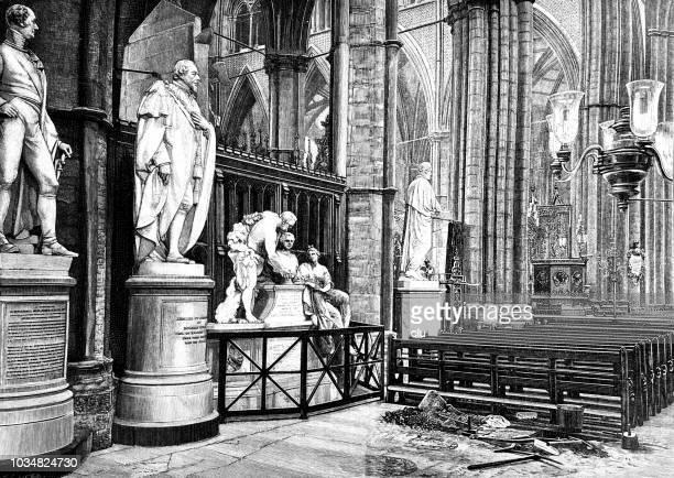 ilustrações de stock, clip art, desenhos animados e ícones de statues of statesmen in the westminster abbey in london - abadia de westminster