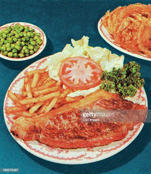 steak dinner - steak plate stock illustrations, clip art, cartoons, & icons