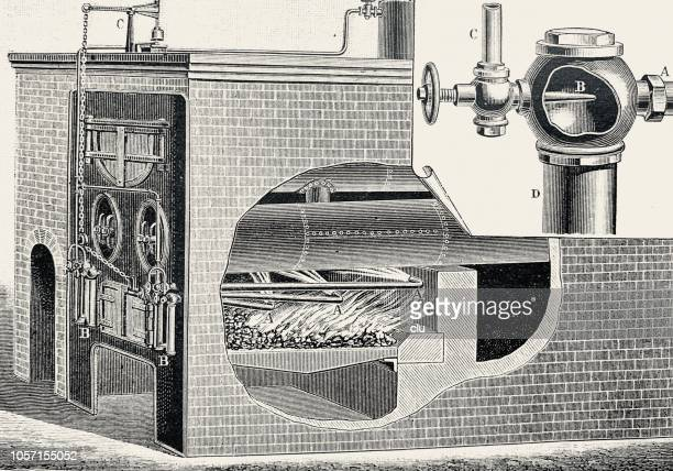 steam boiler heating - boiler stock illustrations, clip art, cartoons, & icons