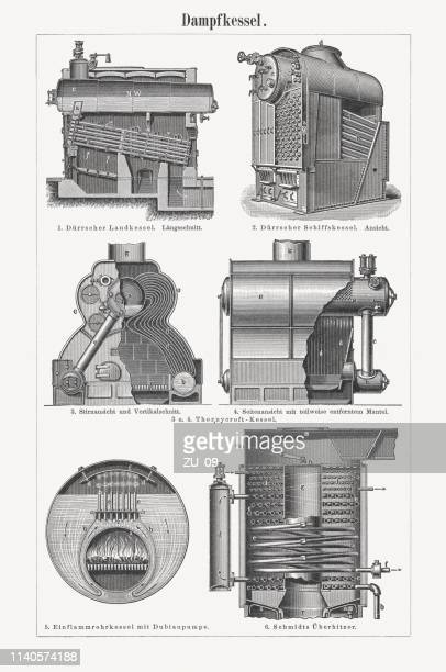 steam boilers, germany, wood engravings, published in 1898 - boiler stock illustrations, clip art, cartoons, & icons