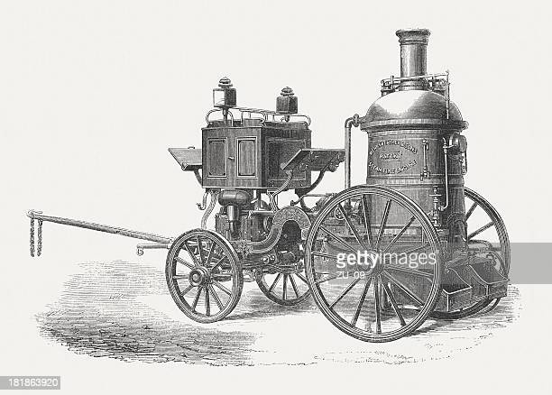 steam fire engine, wood engraving, published in 1864 - horsedrawn stock illustrations, clip art, cartoons, & icons