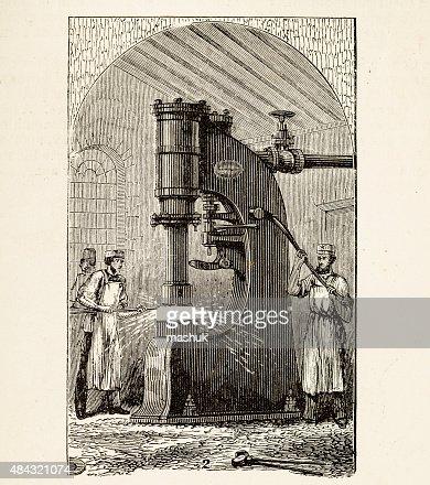 Steam Hammer A 19 Century Technical Illustration stock