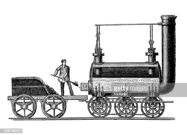 steam locomotive by george stephenson, 1814 - british culture stock illustrations