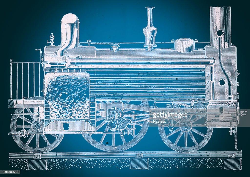 Steam locomotive cross section blueprint stock illustration getty steam locomotive cross section blueprint stock illustration malvernweather Choice Image