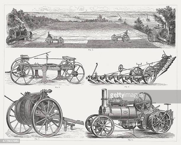 steam ploughing engines, wood engravings, published 1875 - industrial revolution stock illustrations