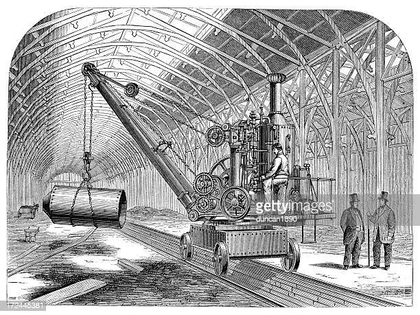 steam propelled crane - rail freight stock illustrations, clip art, cartoons, & icons