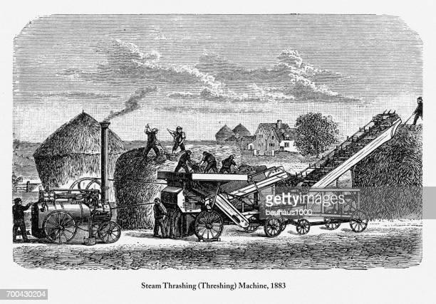 steam thrashing (threshing) machine, early american engraving, 1883 - husk stock illustrations, clip art, cartoons, & icons