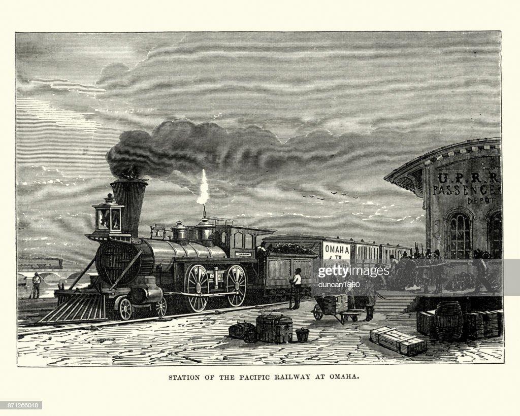 Steam train, station of Pacific Railway at Omaha, 19th Century : stock illustration