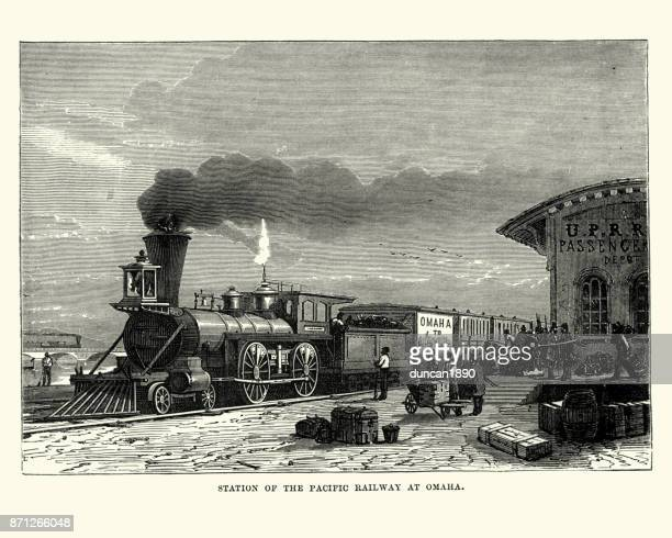 Steam train, station of Pacific Railway at Omaha, 19th Century