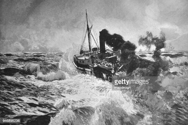 steam vessel during a storm at sea _ 1895 - hurricane storm stock illustrations, clip art, cartoons, & icons