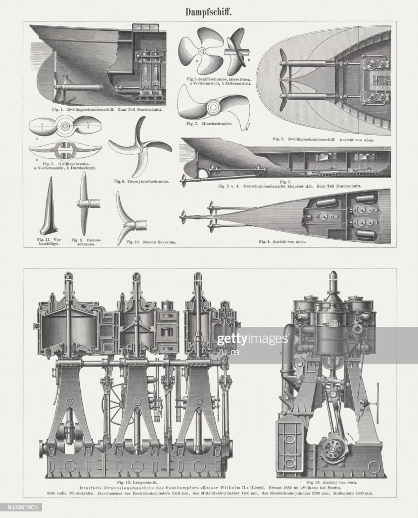 Steamboat Equipment Drive Technology Wood Engravings Published In ...