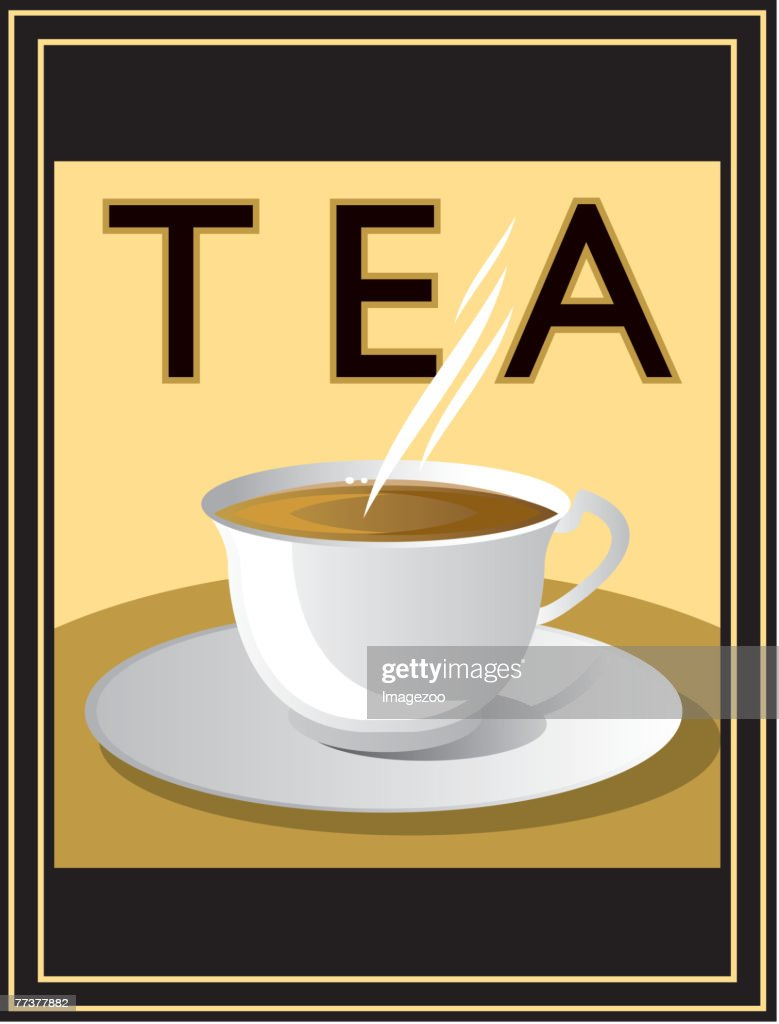 steaming cup of tea : Illustration