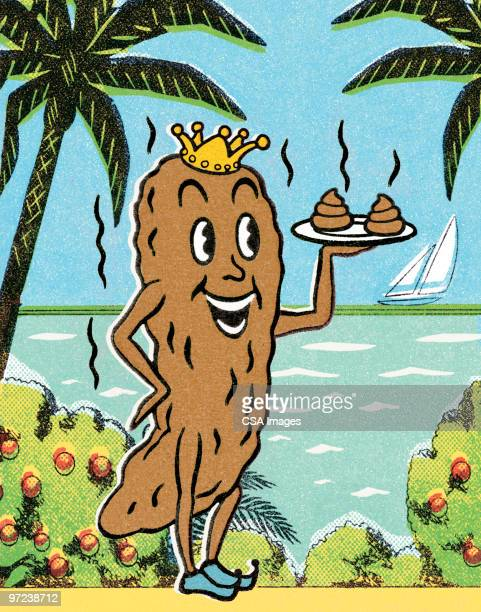 steaming poo in tropical location - feces stock illustrations, clip art, cartoons, & icons