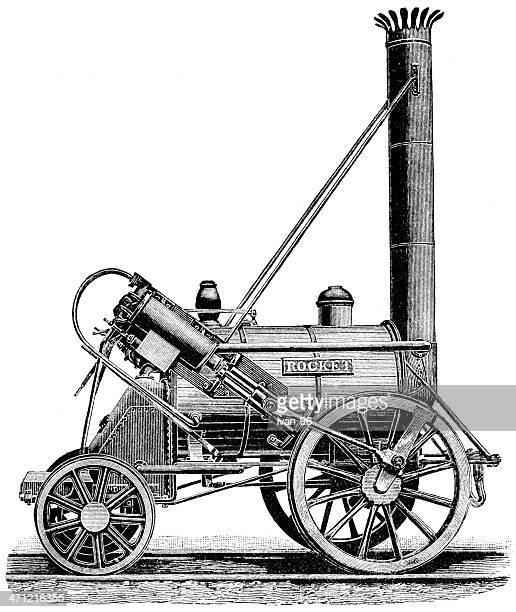 Steampunk steam driven catapult contraption lithograph
