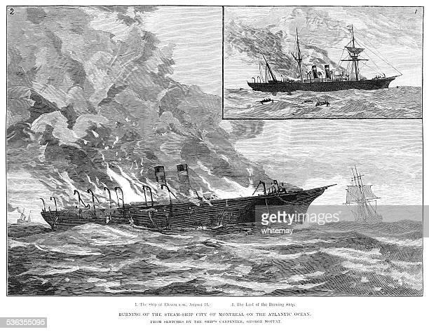 """ilustrações, clipart, desenhos animados e ícones de navio a vapor """"cidade dos montreal'queimando em atlantic (1887 engraving iln) - 1887"""