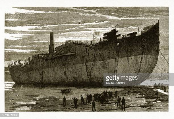 """steamship great eastern"""" being scrapped,1889 - dismantling stock illustrations"""