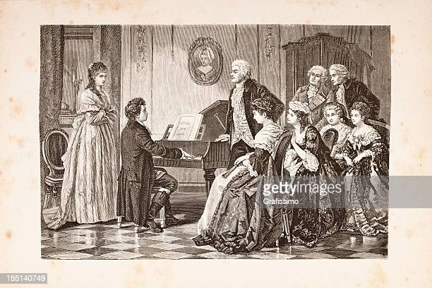 steel engraving of composer mozart and beethoven from 1882 - classical stock illustrations