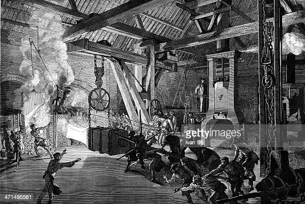 steel mill - 19th century stock illustrations