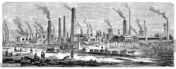 ilustraciones, imágenes clip art, dibujos animados e iconos de stock de steelworks en chorzów es una ciudad en silesia, en el sur de polonia, cerca de katowice - revolucion industrial