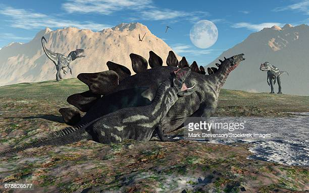 A Stegosaurus and Allosaurus caught in a deadly mud pit, which will kill both of these dinosaurs.