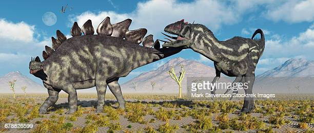 A Stegosaurus defending itself from a predatory Allosaurus attack during Earths Jurassic period.