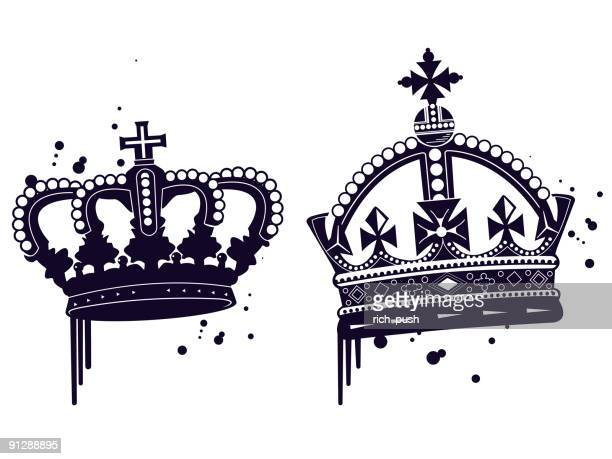 stencil graffiti crowns - medieval queen crown stock illustrations