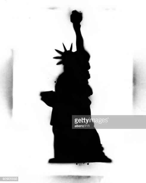 stencil statue of liberty - stencil stock illustrations