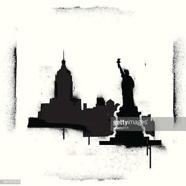 nyc stencilscape - city life stock illustrations, clip art, cartoons, & icons