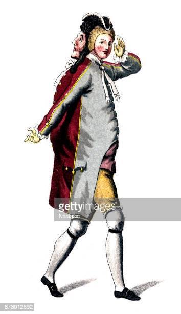 ilustrações, clipart, desenhos animados e ícones de stenterello, é um personagem cômico, mascarado da commedia dell'arte - arte, cultura e espetáculo