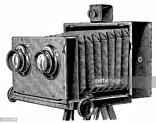 ilustrações de stock, clip art, desenhos animados e ícones de stereoscopic camera - maquina fotografica antiga