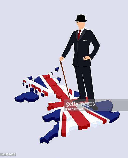 stereotypical british gentleman standing on a british flag in the shape of great britain - all european flags stock illustrations