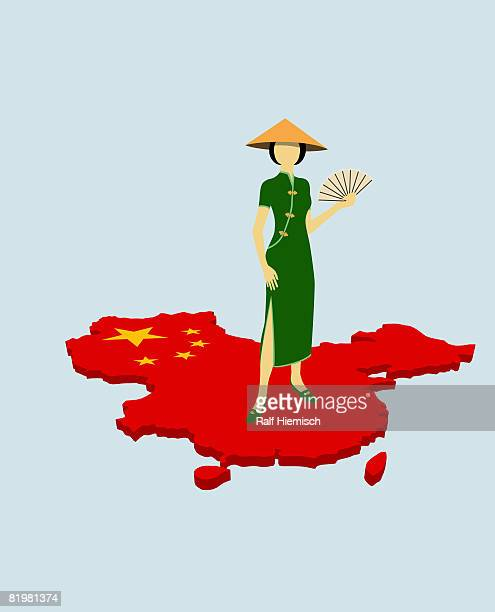 a stereotypical chinese woman standing on the chinese flag in the shape of china - national flag stock illustrations