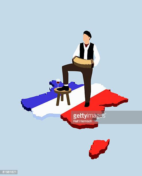 stereotypical french man standing on french flag in the shape of france - france stock illustrations
