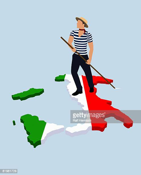 a stereotypical italian gondolier standing on the italian flag in the shape of italy - all european flags stock illustrations