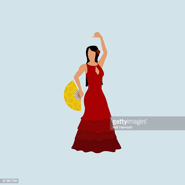 a stereotypical spanish woman dressed in a flamenco costume - traditional clothing stock illustrations