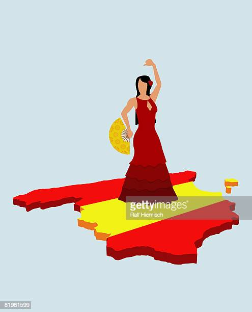 stereotypical spanish woman standing on spanish flag in the shape of spain - all european flags stock illustrations
