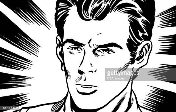 stern looking young man - balding stock illustrations