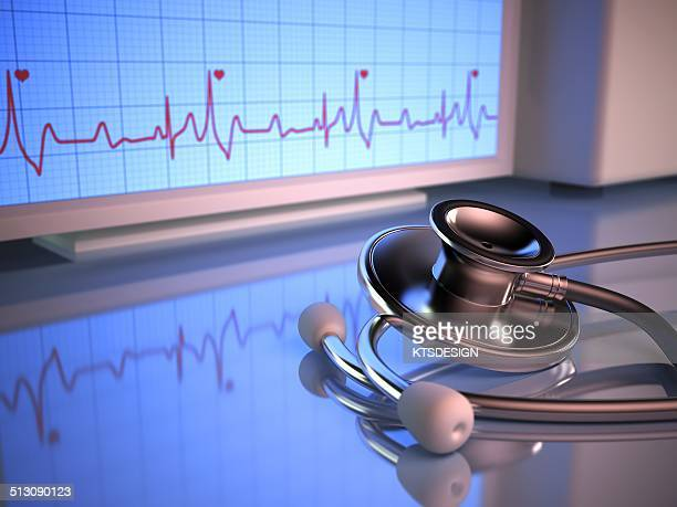 Stethoscope and cardiograph, artwork