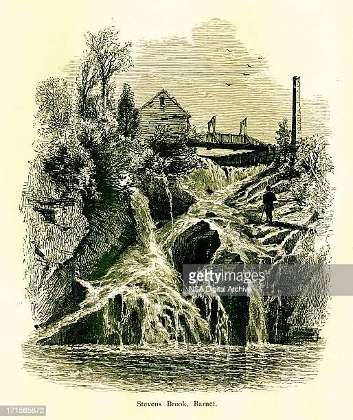 stevens brook, barnet, vermont - connecticut river stock illustrations, clip art, cartoons, & icons