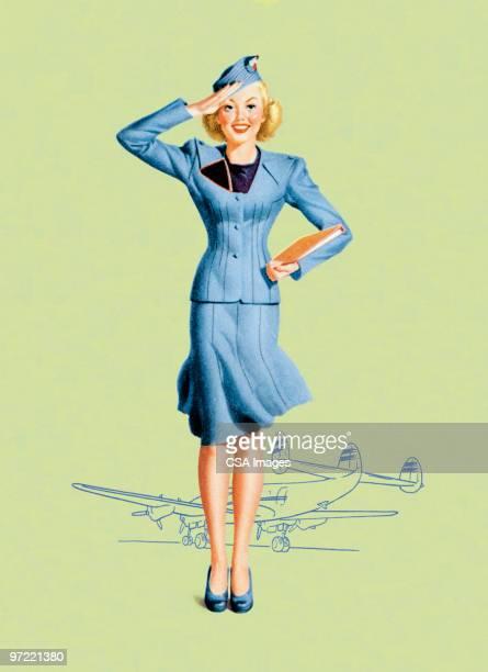 stockillustraties, clipart, cartoons en iconen met stewardess - only women