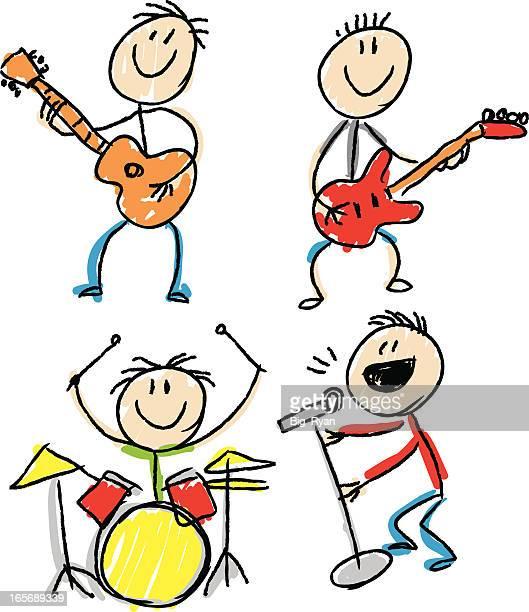 stick figure band - bass instrument stock illustrations, clip art, cartoons, & icons